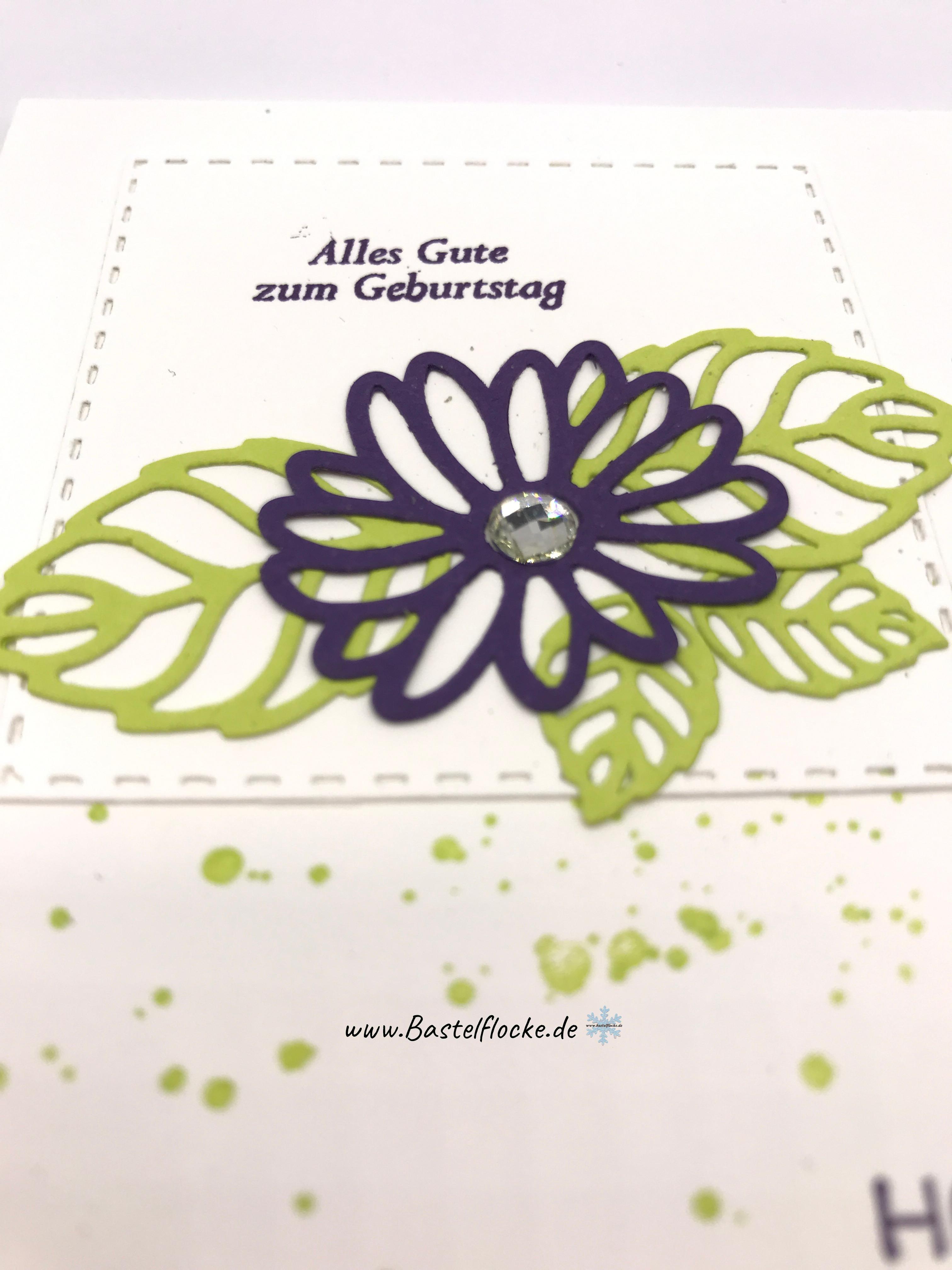 Geburtstagskarte in lila und gr n bastelflocke for Lila und grun mischen